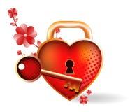 Coração Locked. Ícone brilhante Fotografia de Stock