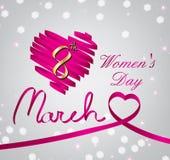 Coração lustroso da fita do cetim cor-de-rosa women'day ilustração stock
