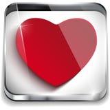 Coração lustroso do botão da aplicação do dia de Valentim Imagens de Stock Royalty Free
