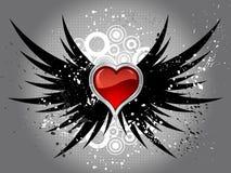 Coração lustroso nas asas do grunge ilustração do vetor