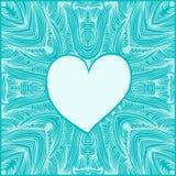 Coração lustroso no teste padrão redondo decorativo do laço, fundo do círculo com muitos detalhes ilustração royalty free