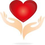 Coração, mão, logotipo ilustração stock