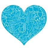 Coração médico azul tirado mão ilustração stock