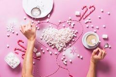 Coração Mini Marshmallows Food colorido do conceito Foto de Stock Royalty Free