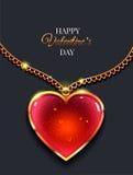 Coração na corrente dourada com fundo claro do vetor do dia do ` s do Valentim ilustração do vetor