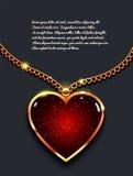 Coração na corrente dourada com luz, joia do projeto Fundo do vetor do dia do ` s do Valentim ilustração do vetor
