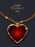 Coração na corrente dourada com luz, joia do projeto Fundo do vetor do dia do ` s do Valentim ilustração stock