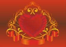 Coração na estrutura 5 do ouro Fotografia de Stock