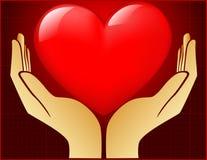 Coração na mão aberta Imagens de Stock