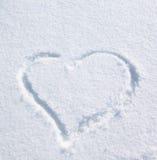 Coração na neve Foto de Stock Royalty Free