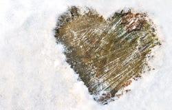 Coração na neve Imagem de Stock