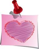 Coração na nota do lembrete Fotografia de Stock