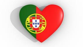 Coração nas cores da bandeira de Portugal, em um fundo branco, parte superior da rendição 3d Imagem de Stock