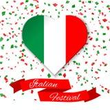 Coração nas cores da bandeira italiana com confetes O cartão, cartaz para o dia nacional de Itália comemorou o 2 de junho Fotos de Stock Royalty Free