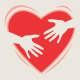 Coração nas mãos Fotos de Stock Royalty Free