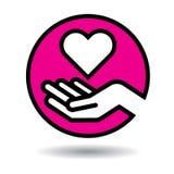 Coração no ícone das mãos ilustração stock