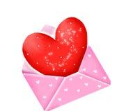 Coração no envelope ilustração do vetor