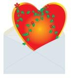 Coração no envelope do correio Imagens de Stock