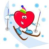 Coração no esqui Fotos de Stock Royalty Free