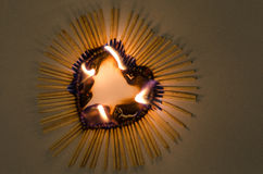 Coração no fogo Imagem de Stock