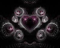 Coração no Fractal de prata Fotografia de Stock Royalty Free