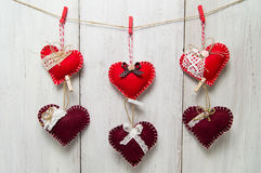 Coração no fundo de madeira Imagens de Stock