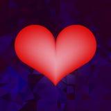 Coração no fundo geométrico azul Fotos de Stock Royalty Free