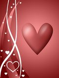 Coração no fundo vermelho ilustração do vetor