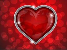 Coração no fundo vermelho Fotos de Stock Royalty Free