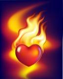 Coração no incêndio Fotos de Stock Royalty Free