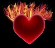 Coração no incêndio Fotografia de Stock Royalty Free