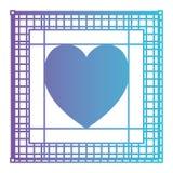 Coração no projeto gráfico do espaço de trabalho da tela no roxo degradado ao contorno azul ilustração do vetor