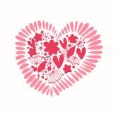 Coração ornamentado com muitos elemen bonitos do projeto dos detalhes ilustração do vetor