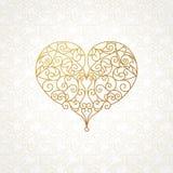 Coração ornamentado do vetor na linha estilo da arte Fotografia de Stock Royalty Free