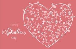 Coração ornamentado floral bonito Cartão do Valentim Fotografia de Stock