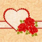 Coração, Paisley e rosas vermelhas ilustração do vetor