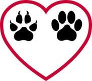 Coração, pata do cão e Cat Paw, logotipo dos cães e gato, logotipo animal ilustração stock