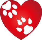 Coração, pata do gato e patas do cão, logotipo dos cães e gato ilustração do vetor
