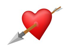 Coração perfurado por uma seta Imagens de Stock