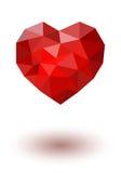 Coração poligonal vermelho Vetor Fotos de Stock Royalty Free