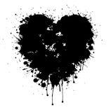Coração preto do vetor do Grunge com gotejamentos da pintura ilustração do vetor