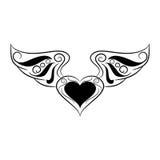 Coração preto e branco com as asas no fundo branco Fotografia de Stock Royalty Free