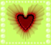 Coração protegido vermelho bonito em um projeto gerado por computador colorido e da pérola do fundo da imagem ilustração do vetor