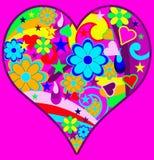 Coração psicadélico retro Funky Fotografia de Stock Royalty Free
