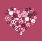 Coração que consiste nas engrenagens no movimento em um fundo cor-de-rosa Imagens de Stock Royalty Free
