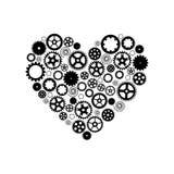 Coração que consiste nas engrenagens Preto em um fundo branco Vetor ilustração stock