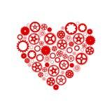 Coração que consiste nas engrenagens Vermelho em um fundo branco Vetor ilustração do vetor