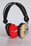 Coração que escuta a música Fotografia de Stock