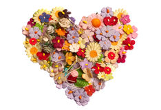 Coração que fez da flor de papel Imagem de Stock