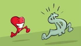 Coração que persegue o sinal de dólar Imagens de Stock